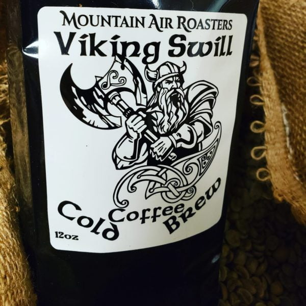 cold brew coffee bag large sticker with viking and ax tribal drawing with a little nordic celtic design